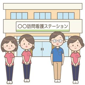 訪問看護ステーション(事務所)と男女の職員のイラストです。