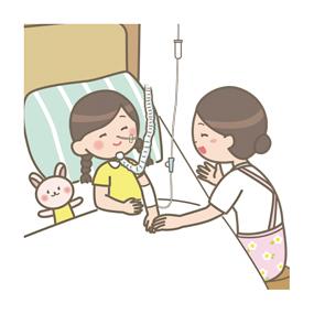 小児の自宅に訪問する訪問看護師のイラストです。呼吸器、末梢静脈ルート、経鼻胃管が挿入されています。