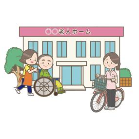 高齢者施設へ訪問する訪問看護師のイラスト