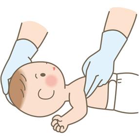 小児のバイタルサイン測定(脈拍)のイラスト