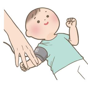 小児のバイタルサイン測定(血圧)のイラスト