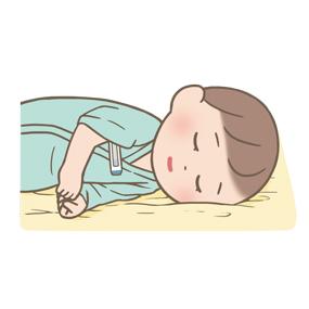 小児のバイタルサイン測定(体温)のイラスト