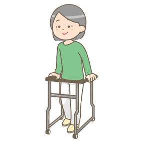 歩行器を使う高齢の患者さんのイラスト