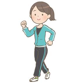 ウォーキングをする若い女性のイラスト(長ズボン)