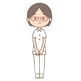 50代くらい(中年)の病棟師長のイラストです。メガネをかけています。