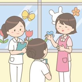 病棟保育士と看護師が情報共有をしているイラスト