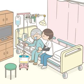 初回離床する患者さんのイラスト