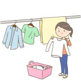 洗濯を干している女性のイラスト
