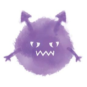 ウイルスまたは細菌・ばい菌のキャラクターのイラストです。水彩風のタッチで、色んな表情をしています。