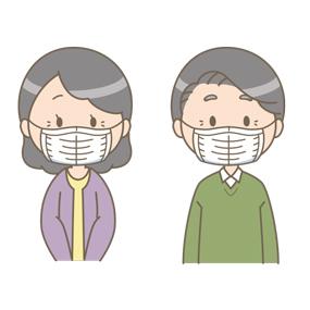 マスクをつけている高齢女性、高齢男性のイラスト