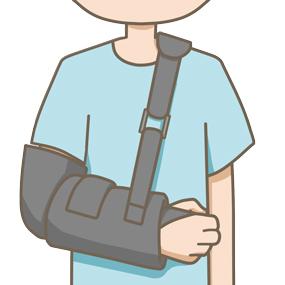 肩の手術後にスリングを装着しているイラスト