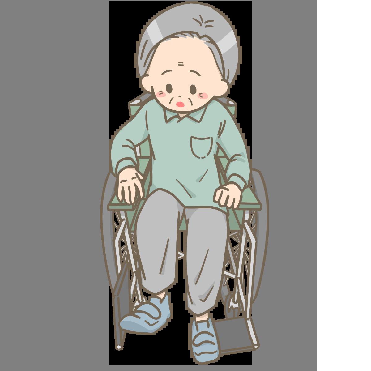 車椅子のフットレスをあげる患者さんのイラストフリー素材看護