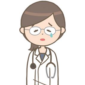 落ち込む女性医師(メガネ)のイラスト※上半身