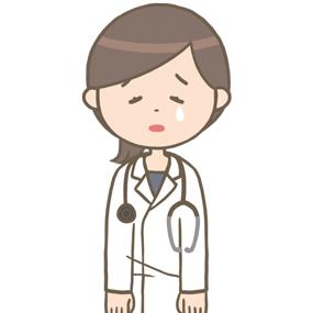 落ち込む女性医師のイラスト(ロングヘア)※上半身
