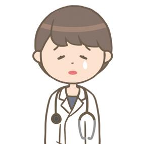 落ち込む女性医師のイラスト※上半身のみ