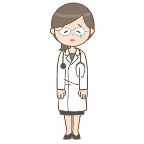 落ち込む女性医師(メガネ)のイラスト
