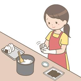 使い捨て手袋を使用しておにぎりを作る女性のイラスト