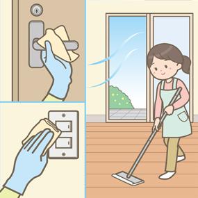 新型コロナウイルスの家庭内感染を防ぐため掃除・消毒をする女性のイラスト