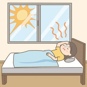 室内で暑さのため熱中症になりベッドで休む女性のイラスト