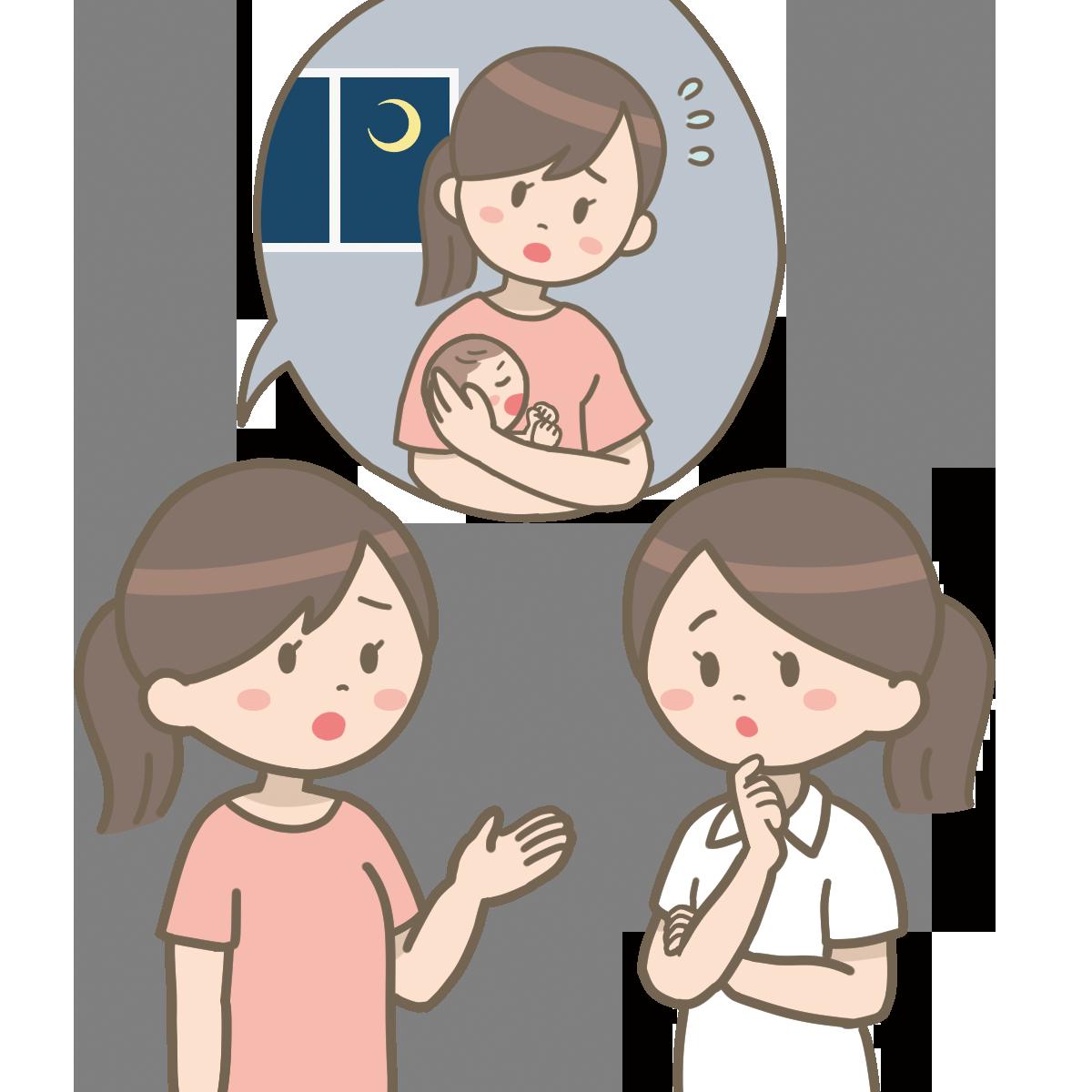 母親が赤ちゃんのことで相談しているイラスト🎨【フリー素材】|看護roo