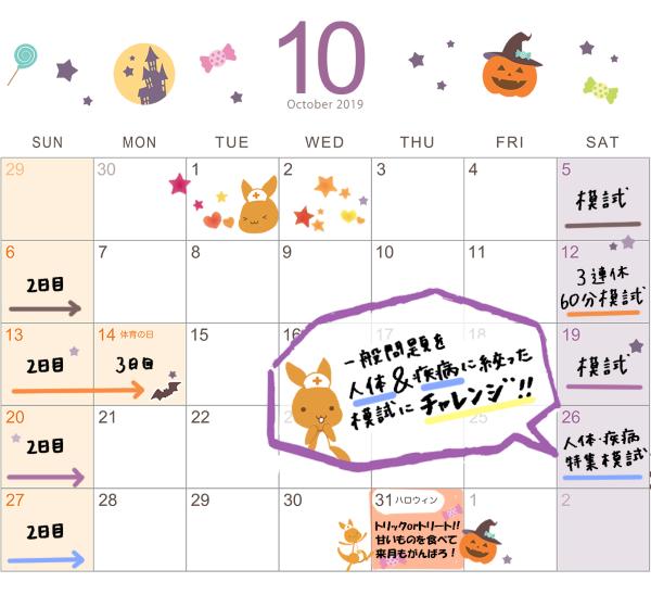 看護roo!国試アプリの模試カレンダー2019年10月
