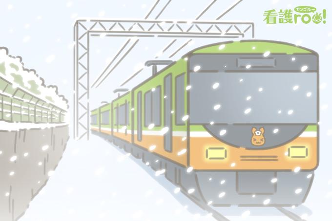 雪の中で走る電車 当日の天気は必ずチェック
