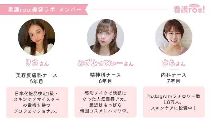 看護roo!美容ラボメンバープロフィール りささん 美容皮膚科ナース 5年目 日本化粧品検定1級・スキンケアマイスターの資格を持つプロフェッショナル。 みずよってぃーさん 精神科ナース 6年目 整形メイクで話題になった人気美容アカ。最近はもっぱら韓国コスメにハマり中。 さちさん Instagramフォロワー1.8万人。スキンケアに投資中!