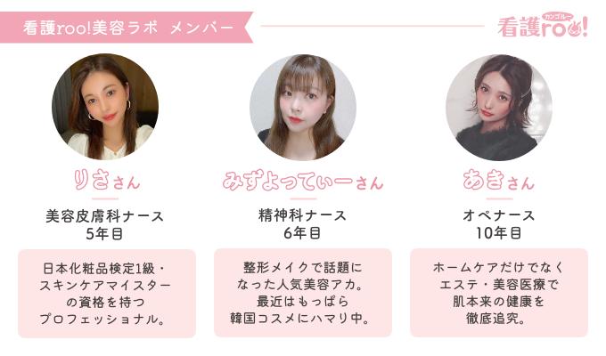 看護roo!美容ラボメンバープロフィール りささん 美容皮膚科ナース 5年目 日本化粧品検定1級・スキンケアマイスターの資格を持つプロフェッショナル。 みずよってぃーさん 精神科ナース 6年目 整形メイクで話題になった人気美容アカ。最近はもっぱら韓国コスメにハマり中。 あきさん オペナース 10年目 ホームケアだけでなくエステ・美容医療で肌本来の健康を徹底追究。