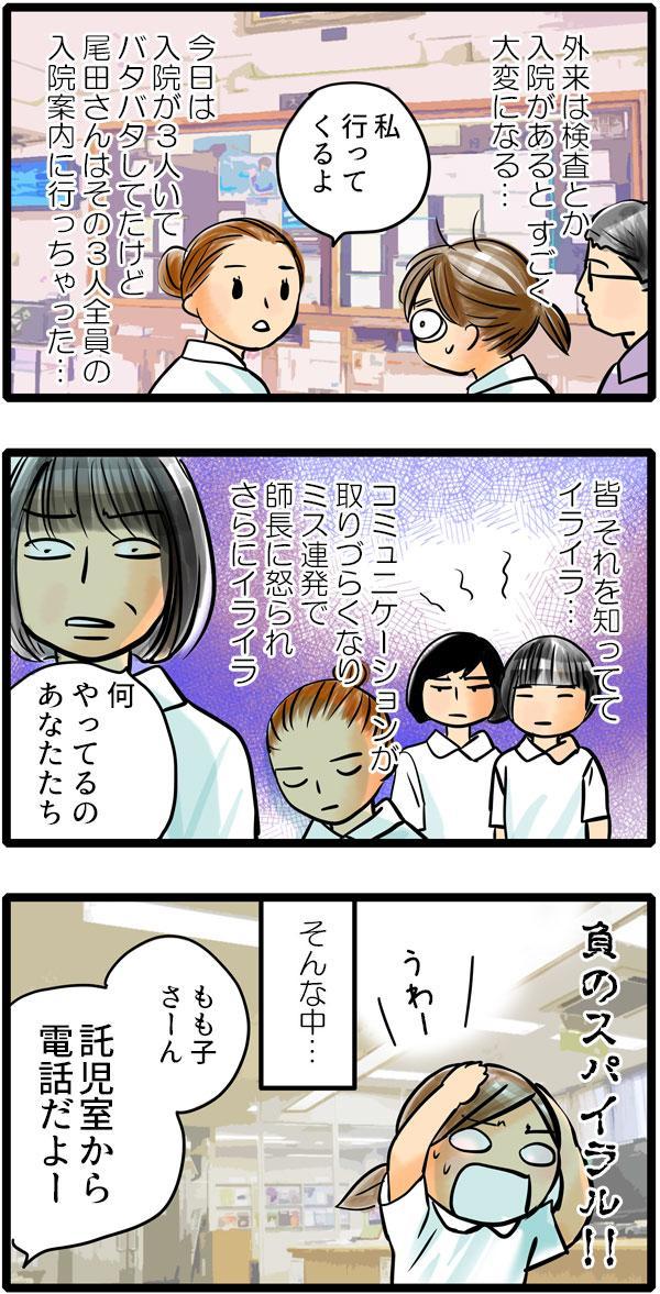 忙しい中、尾田さんは入院案内に抜け出してばかり。伝達ミスで師長にも怒られ、職場はイヤなムードに…。
