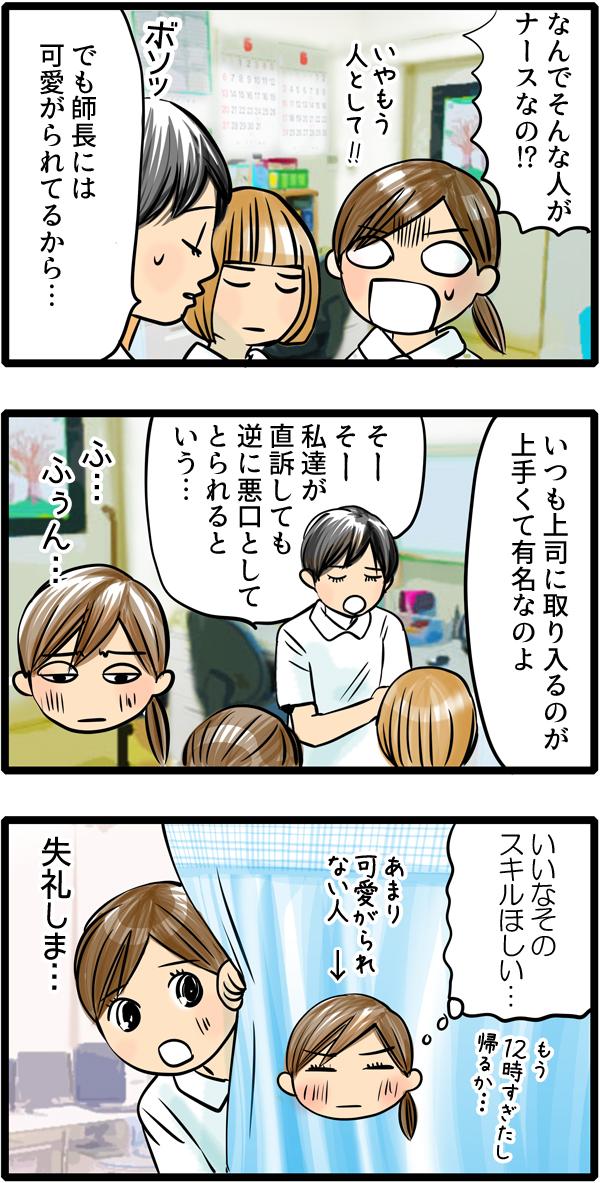 しかし、尾田さんは、師長に可愛がられているから、なにか言ったとしても逆に悪口と取られると何も言えません。