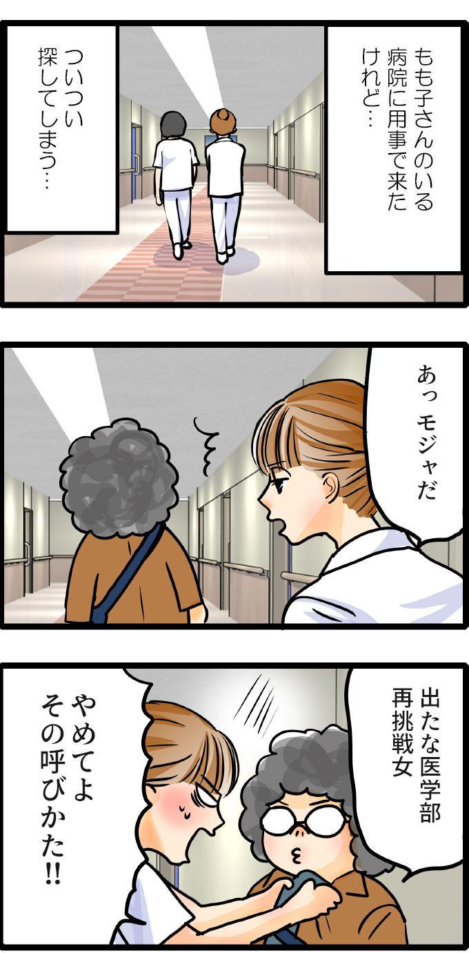 (もも子さんのいる病院に用事で来たけれど…。ついつい探してしまう…。)と自分に対して驚いているようでした。「あっモジャだ」と声をかけてきたのは、看護師のくるみ。モジャ先生もすかさず、「出たな医学部再挑戦女。」と言い返すと、くるみは焦ったように「やめてよその呼びかた!!」と掴みかかってきました。