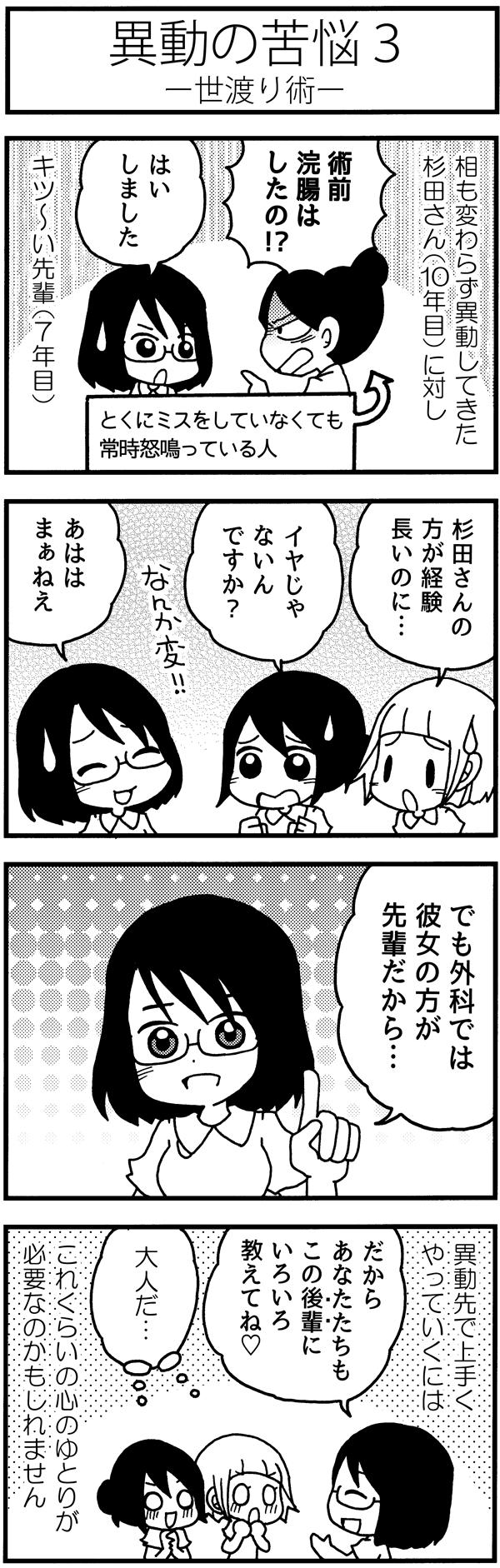 タイトル:異動の苦悩3-世渡り術-。前回に引き続き、循環器科から外科へ異動してきた杉田さん(10年目ナース)に対して、キツ~い7年目の先輩ナース。とくにミスをしていなくても常時怒鳴っています。みちよたちが「杉田さんの方が経験長いのに…」「イヤじゃないんですか?」と心配しながら声をかけると、杉田さんは笑顔で「でも外科では彼女のほうが先輩だから…。だからあなたたちもこの後輩にいろいろ教えてね!」と大人な回答。異動先で上手くやっていくには、これくらいの心のゆとりが必要なのかもしれませんね。
