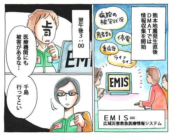 熊本地震発生直後、DMATでは情報収集を開始。翌午後3:00、医療機関にも被害があり、千島さんは上司から現地に向かうよう言われます。