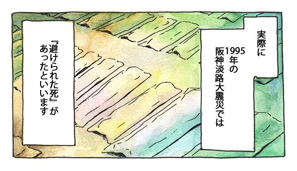 実際に1995年の阪神淡路大震災では『避けられた死』があったといいます。
