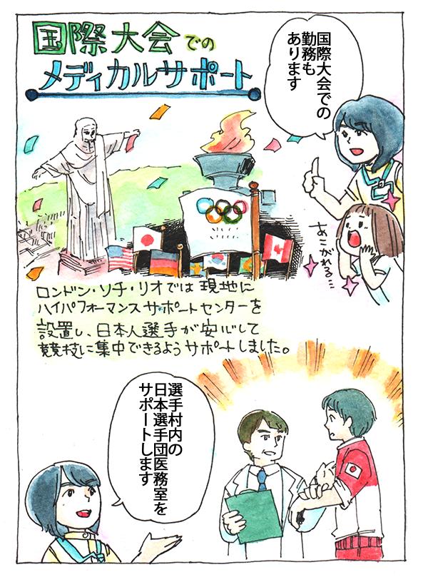 国際大会での勤務もあります。選手村内の日本選手団医務室をサポートします。