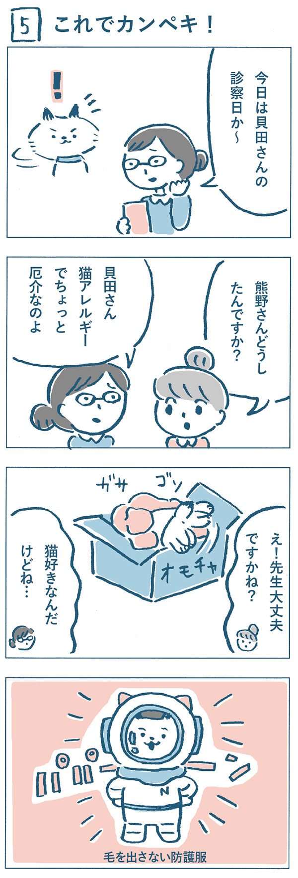 タイトル:これでカンペキ(5)。ねこやまクリニック看護師の熊野さんが、「今日は貝田さんの診察日か~。貝田さん猫アレルギーでちょっと厄介なのよ。」と困ったように言いました。「猫好きなんだけどね…。」と先生を心配する熊野さんと奈央子をよそになにやらゴソゴソしはじめたねこやま先生。宇宙服のような毛を出さない防護服を着ていました。