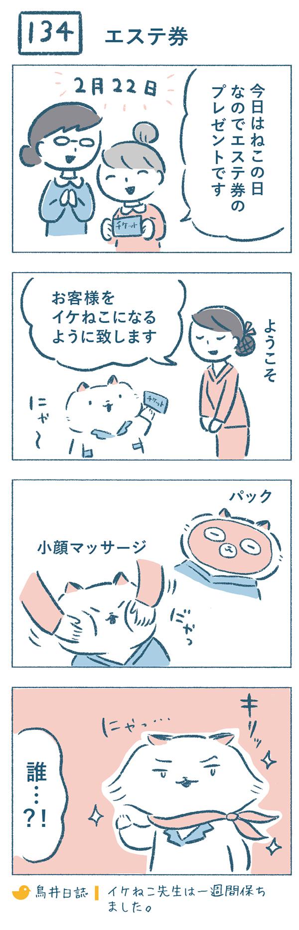 タイトル:エステ券。2月22日。「今日はねこの日なので」と鳥井さんと熊野さんからエステ券のチケットをプレゼントされたねこやま先生。早速チケットを利用して、エステに向かい、パックや小顔マッサージをしてもらいます。エステから帰るころには首にスカーフを巻き、サラサラの毛をなびかせてキリッとした表情でカッコよく挨拶をするねこやま先生。あまりの変貌ぶりに、「誰…?!」とツッコミを受けるのでした。「鳥井日誌|イケねこ先生は一週間保ちました。」