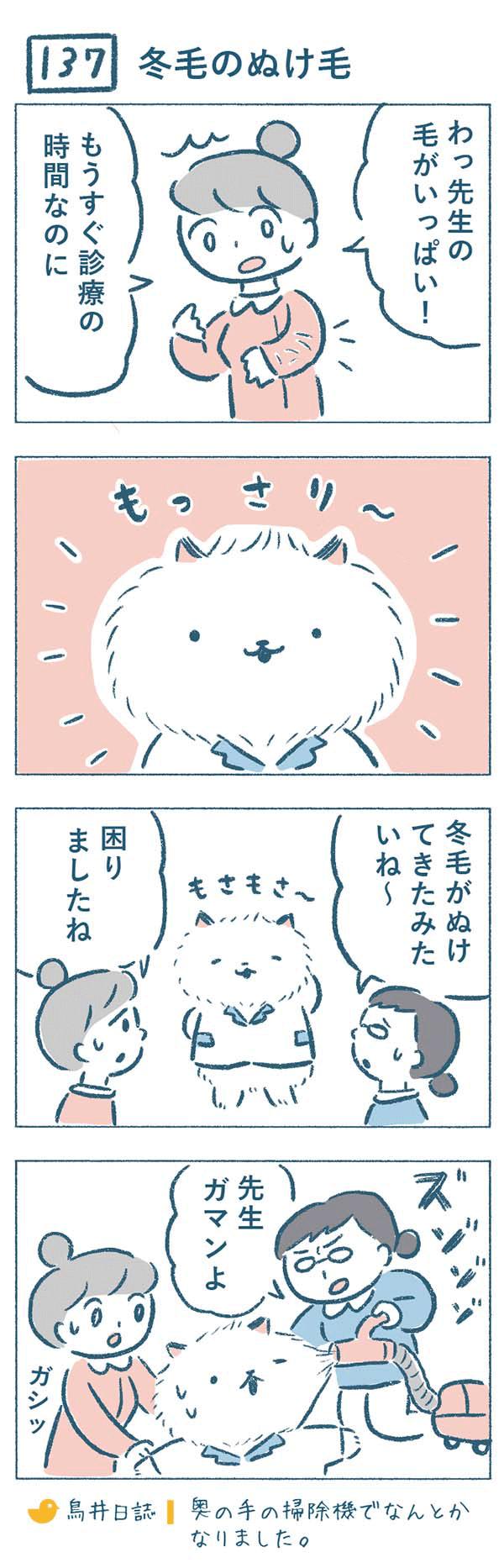 タイトル:冬毛のぬけ毛。ある日、診察前にナース服が先生の毛でいっぱいだと気づいた奈央子。ねこやま先生を見ると、冬毛が抜けてもさもさになっていました。困った熊野さんとねこやま先生は、「先生ガマンよ」と掃除機でなんとかぬけ毛を吸い取ろうとするのでした。