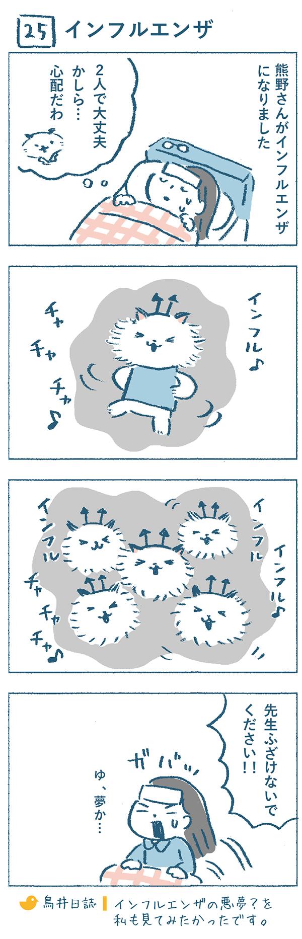 タイトル:インフルエンザ。熊野さんがインフルエンザになってしまいました。熊野さんが「2人で大丈夫かしら・・・心配だわ」と奈央子とねこやま先生のことを考えていると・・・。ばい菌の格好をしたねこやま先生が「インフル♪チャチャチャ♪」と歌いながらどんどん増えていくではありませんか・・・!熊野さんは思わず「先生ふざけないでください!!」と叫びながら飛び起き、ばい菌ねこやま先生が夢であることに気づいたそうです。奈央子は「インフルエンザの悪夢?を私もみてみたかったな」と思うのでした。