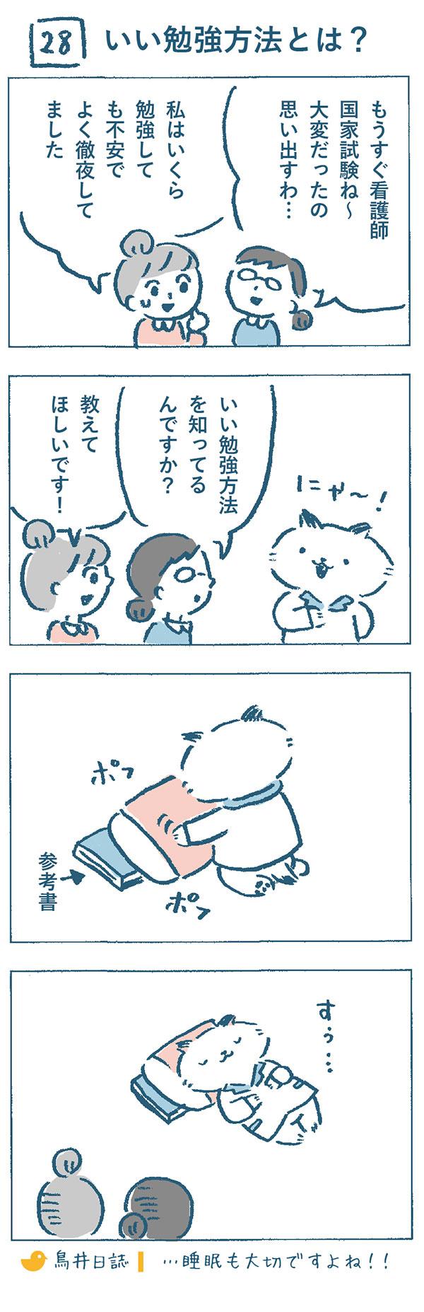 もうすぐ看護師国家試験。看護師の熊野さんと奈央子は、当時のことを思い出して、「大変だったの思い出すわ…」「私はいくら勉強しても不安でよく徹夜してました。」と話をしていました。そんなとき、ねこやま先生が、いい勉強方法を知っているような素振りをしたので、教えて欲しいと奈央子はお願いしました。するとねこやま先生は、枕を持っていって、参考書の上に重ねて整えはじめました。そして、「すぅ…」とお昼寝をしたのでした…睡眠も大切ですよね!