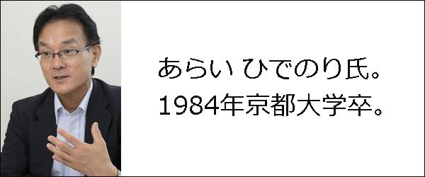 1984年京都大卒のあらいひでのり氏の写真。