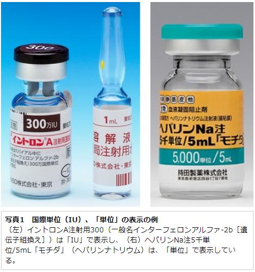 写真1 国際単位(IU)、「単位」の表示の例 (左)イントロンA注射用300(一般名インターフェロンアルファ-2b[遺伝子組換え])は「IU」で表示し、(右)ヘパリンNa注5千単位/5mL「モチダ」(ヘパリンナトリウム)は、「単位」で表示している。