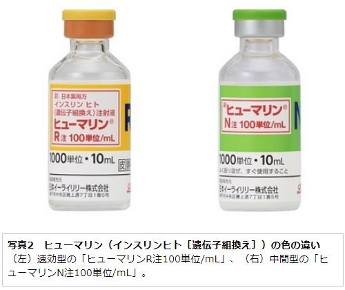 写真2 ヒューマリン(インスリンヒト[遺伝子組換え])の色の違い (左)速効型の「ヒューマリンR注100単位/mL」、(右)中間型の「ヒューマリンN注100単位/mL」。