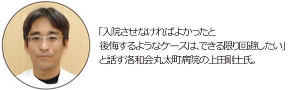 「入院させなければよかったと後悔するようなケースは、できる限り回避したい」と話す洛和会丸太町病院の上田剛士氏の写真