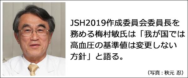 「我が国では高血圧の基準値は変更しない方針」と語るJSH2019作成委員会委員長を務める梅村敏氏の写真。