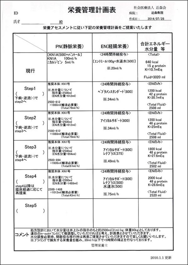 栄養管理計画表