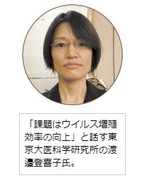 「課題はウイルス増殖効率の向上」と話す東京大医科学研究所の渡邉登喜子氏。