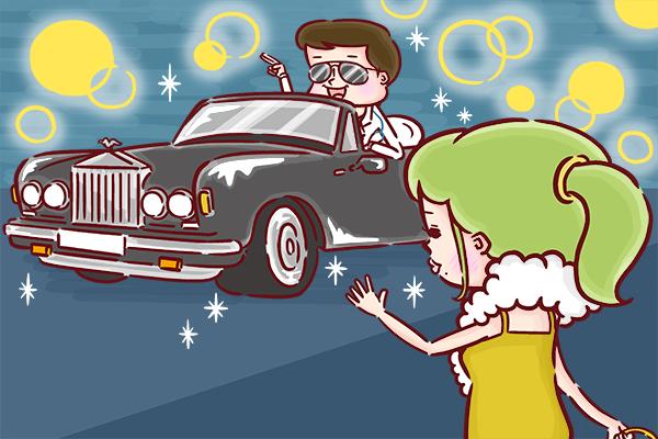 高級車で迎えにきた医師に笑顔で手をふる女性のイラスト