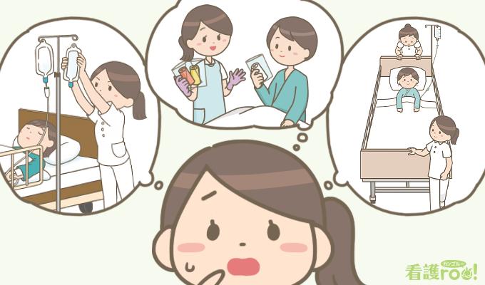 点滴交換、清潔ケア、患者移送などのタスクの優先順位がわからず困っている看護師のイラスト