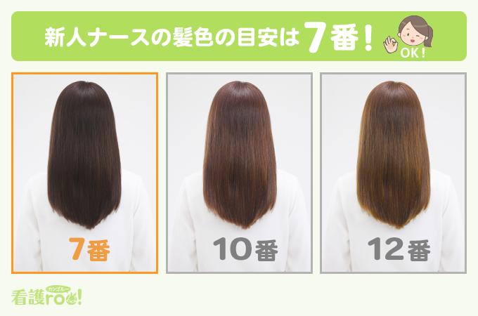 新人ナースの髪色の目安は7番で、暗めの色です。JHCAレベルスケールに当てはめてチェックしましょう。